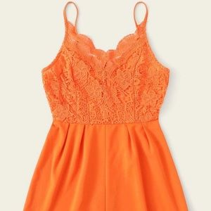 Orange lace romper